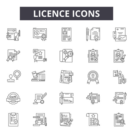 Licence line icons for web and mobile. Editable stroke signs. Licence  outline concept illustrations