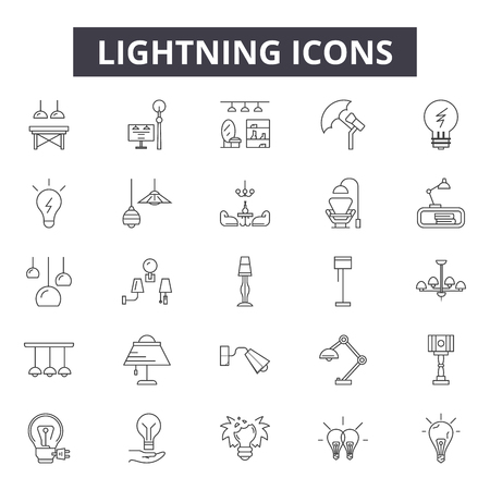 Lightning line icons for web and mobile. Editable stroke signs. Lightning  outline concept illustrations 일러스트