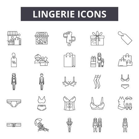 Icônes de ligne de lingerie pour le web et le mobile. Signes de course modifiables. Illustrations de concept de contour de lingerie
