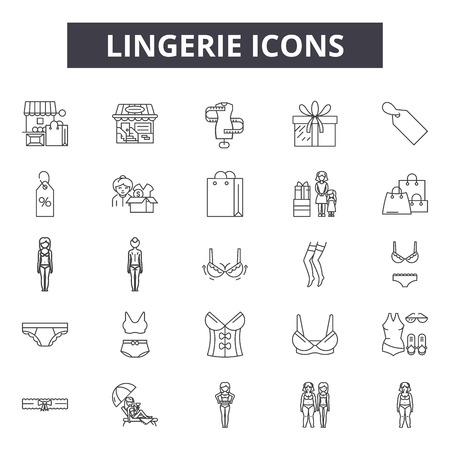 Lingerie line icons for web and mobile. Editable stroke signs. Lingerie  outline concept illustrations Standard-Bild - 119235484