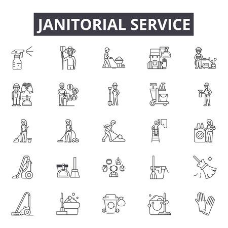Ikony linii usług porządkowych dla sieci web i mobile. Edytowalne znaki obrysu. Ilustracje konceptu usług porządkowych