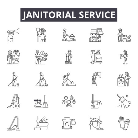 Janitorial service line icons for web and mobile. Editable stroke signs. Janitorial service  outline concept illustrations Ilustração