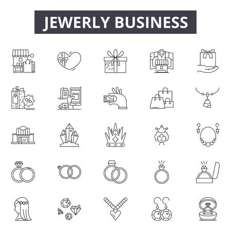 Iconos de línea de negocios de joyería para web y móvil. Signos de trazo editables. Ilustraciones de concepto de esquema de negocio de joyería