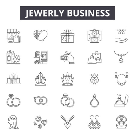 Jewerly business line icons for web and mobile. Editable stroke signs. Jewerly business  outline concept illustrations Illustration