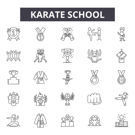 Karate school line icons for web and mobile. Editable stroke signs. Karate school  outline concept illustrations Illustration