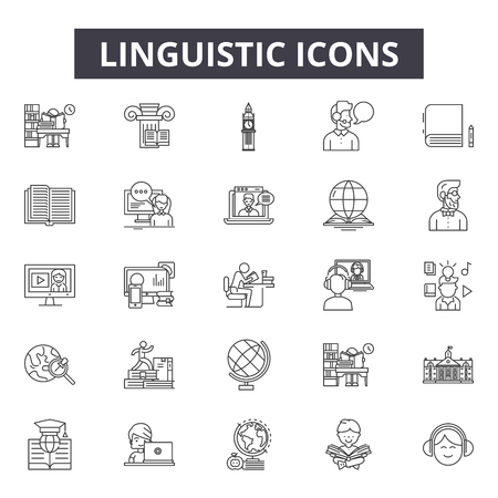 Linguistic line icons for web and mobile. Editable stroke signs. Linguistic  outline concept illustrations Stock Vector - 119235497