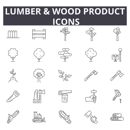 Lumber & wood production line icons for web and mobile. Editable stroke signs. Lumber & wood production  outline concept illustrations Illustration