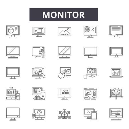 Iconos de línea Montior para web y móvil. Signos de trazo editables. Ilustraciones de Montior outline concept Ilustración de vector
