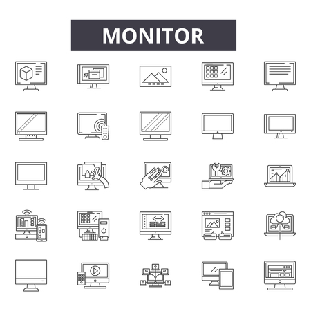 Montior line icons for web and mobile. Editable stroke signs. Montior  outline concept illustrations
