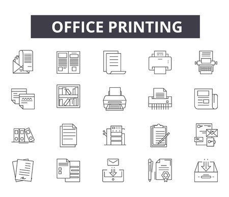 Office printing line icons for web and mobile. Editable stroke signs. Office printing  outline concept illustrations Standard-Bild - 119235505
