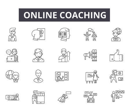 Online coaching line icons for web and mobile. Editable stroke signs. Online coaching  outline concept illustrations 免版税图像 - 119235507