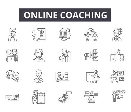 Online-Coaching-Liniensymbole für Web und Mobile. Bearbeitbare Strichzeichen. Illustrationen des Online-Coaching-Konzepts Vektorgrafik