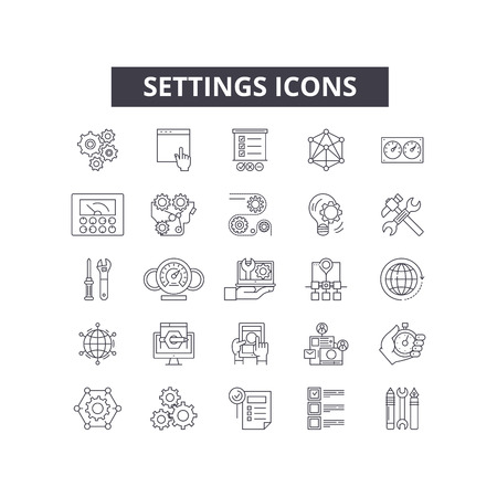 Settings line icons for web and mobile. Editable stroke signs. Settings  outline concept illustrations