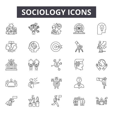 Icone della linea di sociologia per web e mobile. Segni di tratto modificabili. Illustrazioni del concetto di contorno di sociologia Vettoriali
