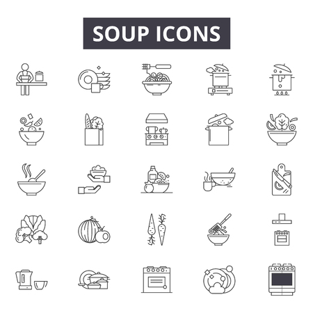 Soup line icons for web and mobile. Editable stroke signs. Soup  outline concept illustrations Illustration