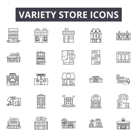 Variety store line icons for web and mobile. Editable stroke signs. Variety store  outline concept illustrations Illustration