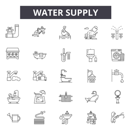 Water  supply line icons for web and mobile. Editable stroke signs. Water  supply  outline concept illustrations