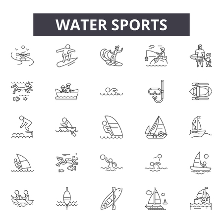 Water sports line icons for web and mobile. Editable stroke signs. Water sports  outline concept illustrations