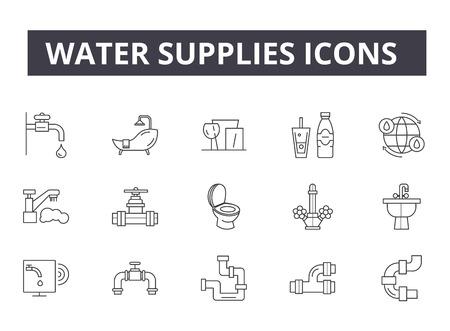 Iconos de línea de suministros de agua para web y móvil. Signos de trazo editables. Ilustraciones de concepto de esquema de suministros de agua