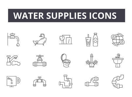 Water supplies line icons for web and mobile. Editable stroke signs. Water supplies  outline concept illustrations Foto de archivo - 119235314