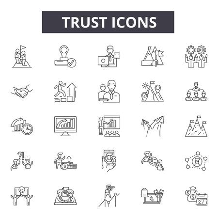 Iconos de línea de confianza para web y móvil. Signos de trazo editables. Ilustraciones del concepto de esquema de confianza