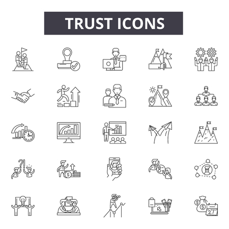 Trust line icons for web and mobile. Editable stroke signs. Trust  outline concept illustrations