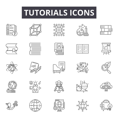 Tutorials line icons for web and mobile. Editable stroke signs. Tutorials  outline concept illustrations
