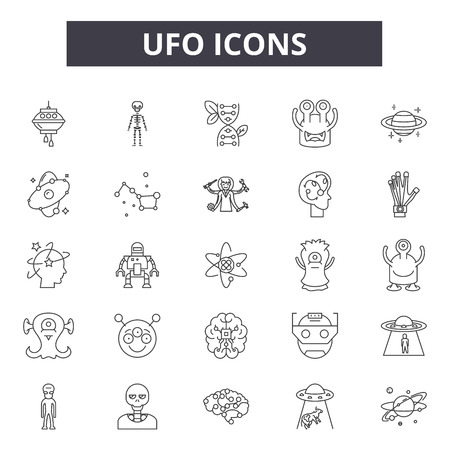 Ufo line icons for web and mobile. Editable stroke signs. Ufo  outline concept illustrations