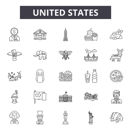 United states line icons for web and mobile. Editable stroke signs. United states  outline concept illustrations Ilustrace