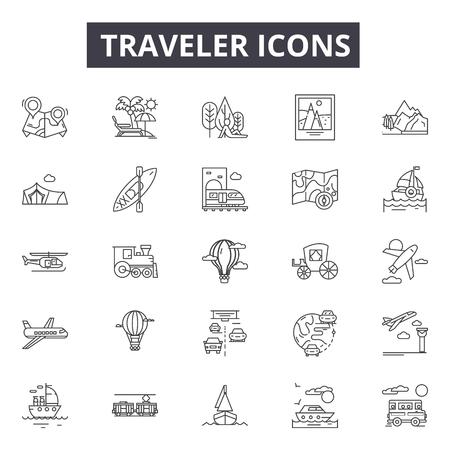Ikony linii podróżnika dla sieci web i mobile. Edytowalne znaki obrysu. Ilustracje konceptu podróżnika Ilustracje wektorowe