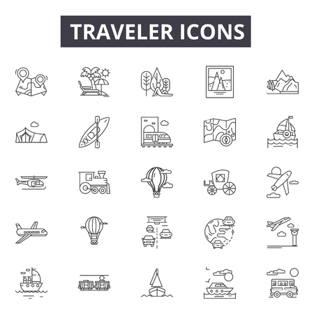 Traveler line icons for web and mobile. Editable stroke signs. Traveler  outline concept illustrations Foto de archivo - 119235324