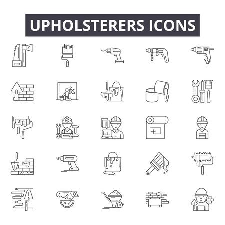 Polsterer Liniensymbole für Web und Mobile. Bearbeitbare Strichzeichen. Polsterer skizzieren Konzeptillustrationen