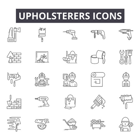 Upholsterers line icons for web and mobile. Editable stroke signs. Upholsterers  outline concept illustrations  イラスト・ベクター素材