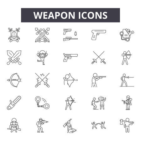 Weapon line icons for web and mobile. Editable stroke signs. Weapon  outline concept illustrations