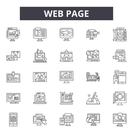 Web page line icons for web and mobile. Editable stroke signs. Web page  outline concept illustrations