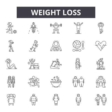 Icônes de ligne de perte de poids pour le web et le mobile. Signes de course modifiables. Illustrations de concept de contour de perte de poids
