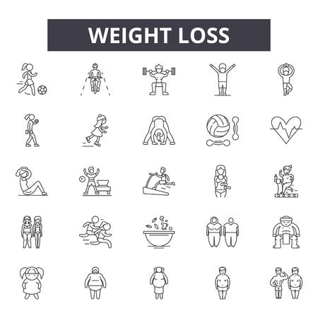 Weight loss line icons for web and mobile. Editable stroke signs. Weight loss  outline concept illustrations