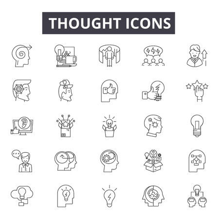 Thought line icons for web and mobile. Editable stroke signs. Thought  outline concept illustrations Illusztráció