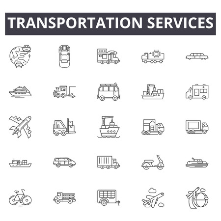 Transportation services line icons for web and mobile. Editable stroke signs. Transportation services  outline concept illustrations Çizim