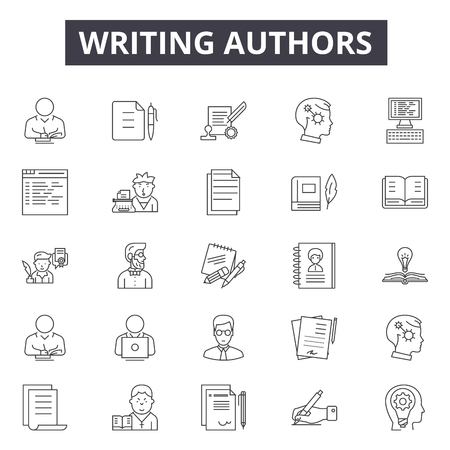 Writing authors line icons for web and mobile. Editable stroke signs. Writing authors  outline concept illustrations