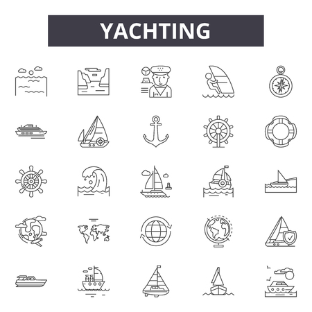 Yachting line icons for web and mobile. Editable stroke signs. Yachting  outline concept illustrations