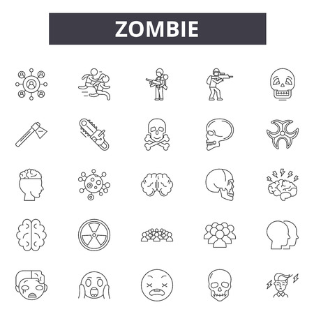 Zombie line icons for web and mobile. Editable stroke signs. Zombie  outline concept illustrations Illustration