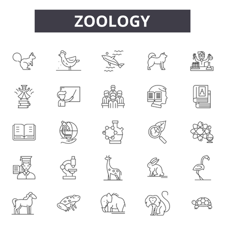 Zoology line icons for web and mobile. Editable stroke signs. Zoology  outline concept illustrations