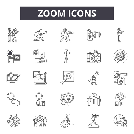 Zoom line icons for web and mobile. Editable stroke signs. Zoom  outline concept illustrations Фото со стока - 119235265