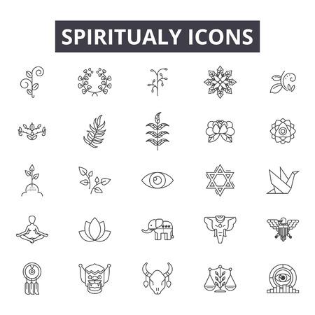 Iconos de líneas espirituales para web y móvil. Signos de trazo editables. Ilustraciones del concepto de esquema espiritual