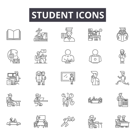 Student line icons for web and mobile. Editable stroke signs. Student  outline concept illustrations