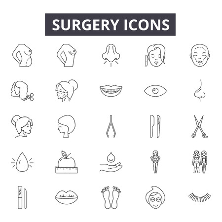 Surgery line icons for web and mobile. Editable stroke signs. Surgery  outline concept illustrations Illustration