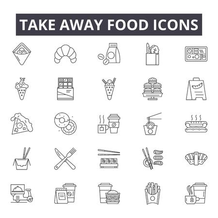 Emportez des icônes de ligne de nourriture pour le web et le mobile. Signes de course modifiables. Illustrations de concept de contour de nourriture à emporter Vecteurs
