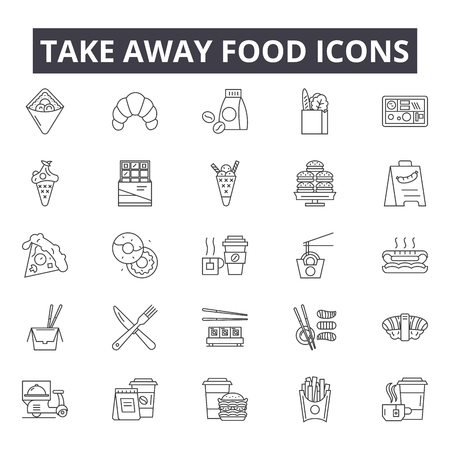 Take away food line icons for web and mobile. Editable stroke signs. Take away food outline concept illustrations