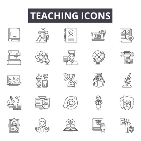 Teaching line icons for web and mobile. Editable stroke signs. Teaching outline concept illustrations